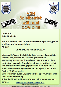 Spielbetrieb während Coronavirus/COVID-19