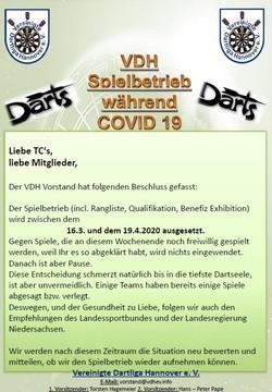 Aussetzung Spielbetrieb während Coronavirus/COVID-19